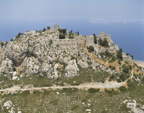 Kantara Castle, 12th century crusader castle, aerial from south, Kibris, Cyprus