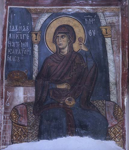 Virgin Annunciate, 12th century wall painting, Church of Panagia Theotokos, Trikomo (Iskele), Cyprus