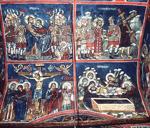 Cyprus, Asinou Church, the Betrayal, Carrying the Cross, the Crucifixion and the Lamentation