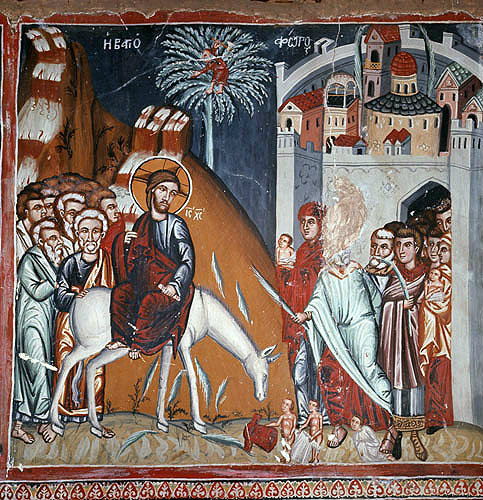 Cyprus, Galata, Church of Archangel Michael, the Entry into Jerusalem 16th century wall painting