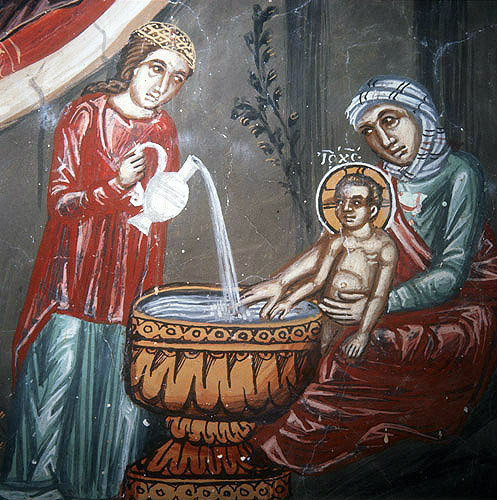 Cyprus, Galata, the Nativity, detail of the bathing, the Church of Archangel Michael 16th century