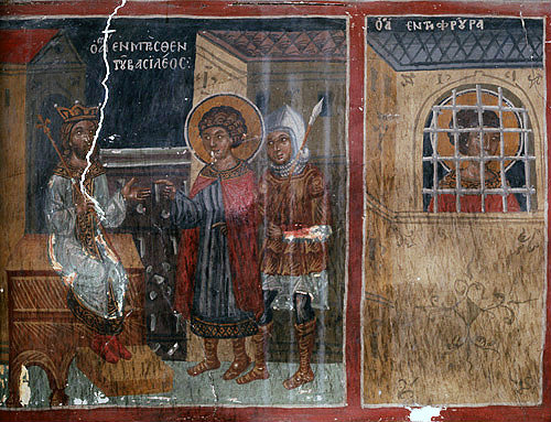Cyprus, Galata, Church of St Sozomenus, a scene from the martyrdom of St George, 16th century wall painting by Symeon Axenti