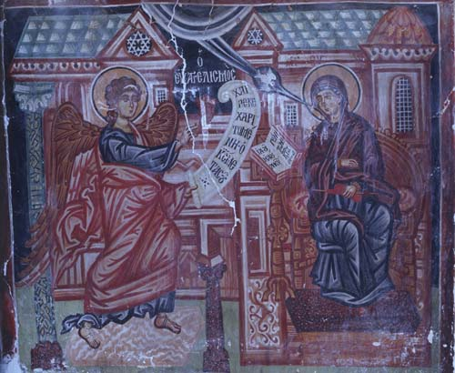 Annunciation, 15th century wall painting, Church of Archangel Michael, Pedoulas, Cyprus