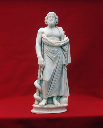 Paphos Cyprus Asclepius a small Roman statue found in a  Roman Villa