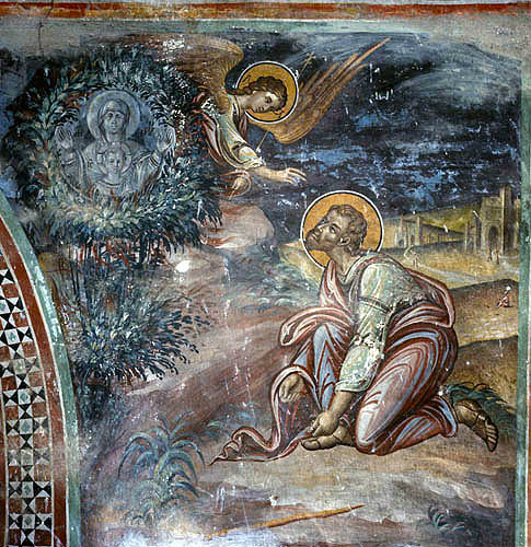 Cyprus, Kalopanayiotis, Latin Chapel of the monastery of St John Lampadistis, Moses and the Burning Bush, Italo-Byzantine style 15th century mural