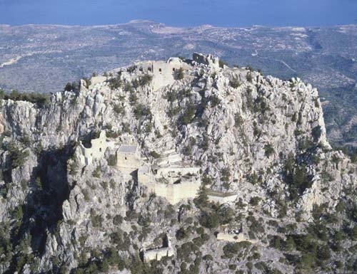 Buffavento Castle, 11th - 14th century, aerial from the south, Kibris, Cyprus
