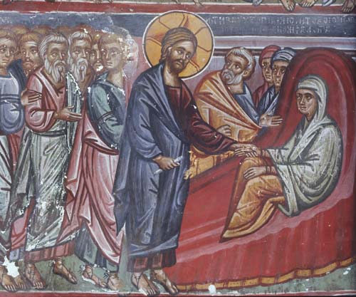 Jésus guérit la belle-mère de Pierre dans images sacrée CY74-6-09