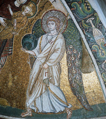 Archangel Gabriel, 7th century mosaic, Church of Panagia Angeloktistos, Kiti, Cyprus