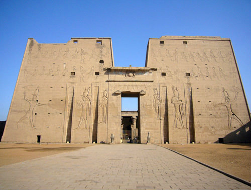 Ptolomeic Temple of Horus, first pylon, Edfu, Egypt