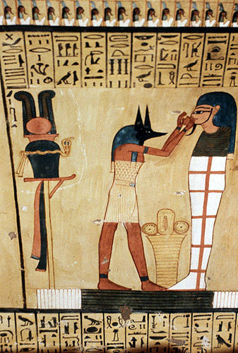 Egypt medinet habu wall painting of anubis preparing a mummy for Egyptian fresco mural painting