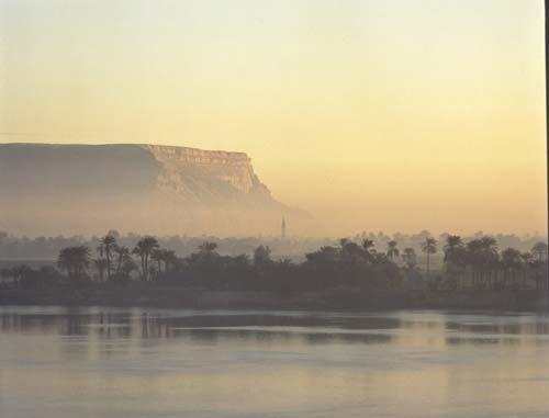 Nag Hammadi, sunrise, view across the Nile, Egypt