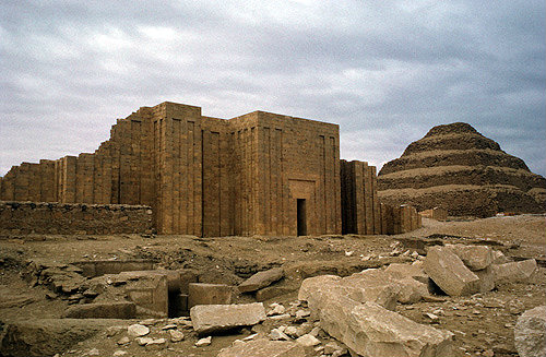 Egypt, Saqqara, Stepped Pyramid of Djoser, third dynasty, twentyseventh century BC, built by architect Imhotep, and Temple