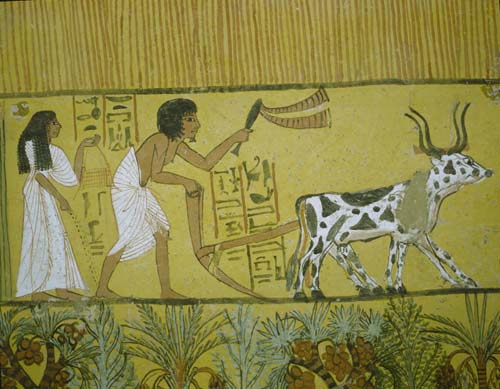 Senedjem and his wife Iyneferti after death in the garden of Talu, tomb painting 1200 BC, Thebes, Egypt