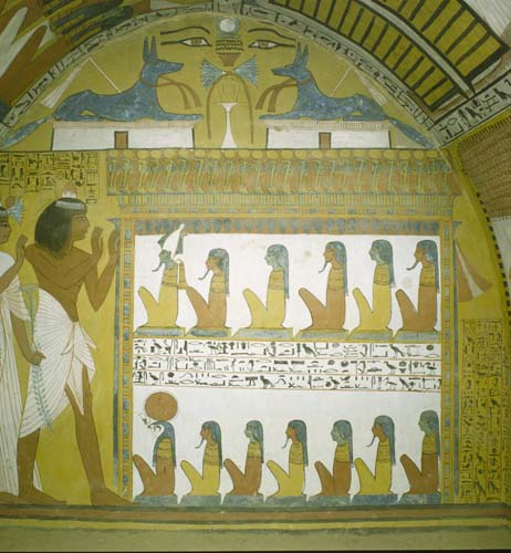 Senedjem and wife,  with Anubis above, tomb of Senedjem, tomb painting, 13th century BC, Thebes, Egypt