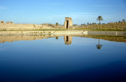 The sacred pool, in which priests performed their ablutions before carrying out their duties, temple of Amun, Karnak, Egypt