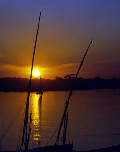 Egypt  Feluccas on the Nile at Luxor at sunset