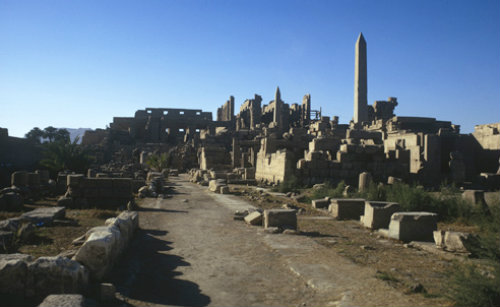 Egypt, Karnak, general view of temple complex, with obelisks