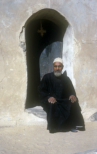 Coptic monk outside his cell, Egypt