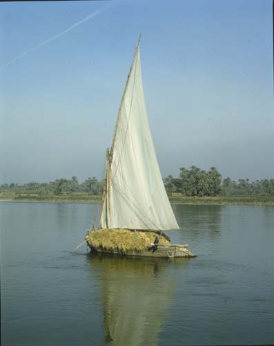 Laden felucca on the river Nile, Egypt