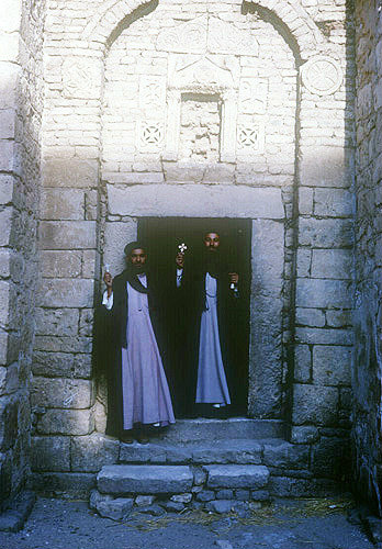 Coptic Monks in a desert monastery, Egypt