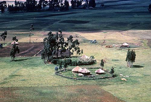 Ethiopia, round huts in village of Tukul