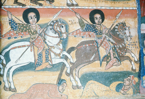 Ethiopia wallpainting in the rock-cut church on monastery island of Lake Tana.