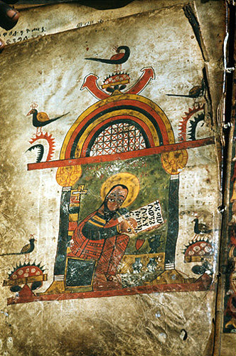 Ethiopia , Lake Tana, manuscript in church of Daga Estifanos