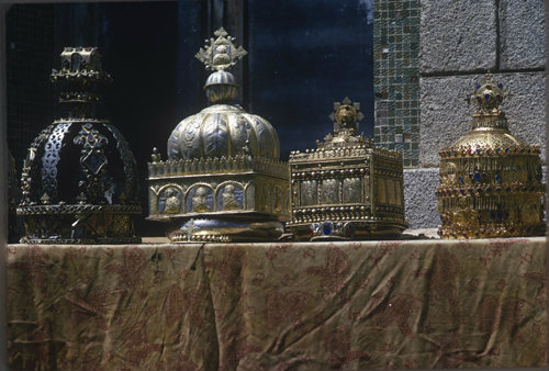 Ethiopia Axum ancient crowns of royalty with Amharic crosses in treasury of St Mary Tsion