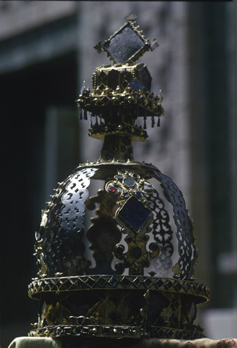Ethiopia Axum ancient crown of royalty with Amharic crosses in treasury of St Mary Tsion