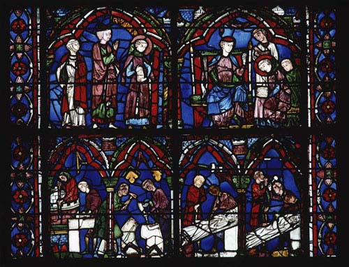 Stone masons, stonecutters, sculptors, St Cheron window, 13th century stained glass, Chartres Cathedral, France