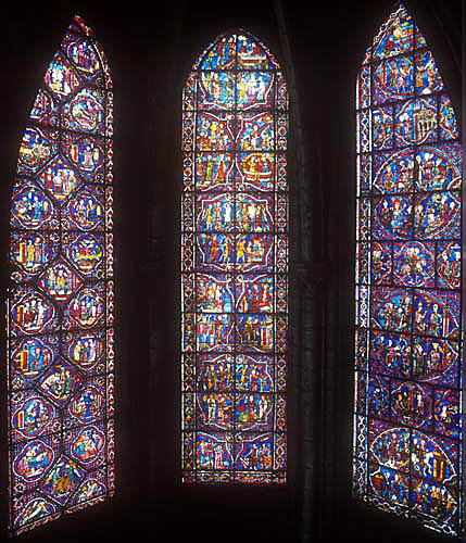 St Nicholas, St Margaret and St Catherine and St Thomas a Becket windows, thirteenth century, Chartres Cathedral, Chartres, France