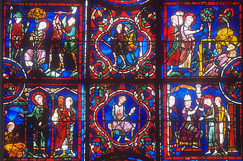 Details of the life of St Martin, window number 24, thirteenth century, panels 7-12, Chartres Cathedral, Chartres, France