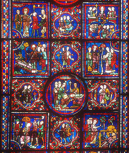 Details of the life of St Martin, window number 24, thirteenth century, panels 10-36, Chartres Cathedral, Chartres, France