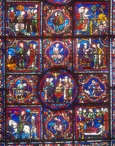 Details of the life of St Martin, window number 24, thirteenth century, panels 1-12, Chartres Cathedral, Chartres, France