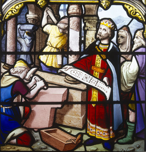 Solomon building the temple in Jerusalem, 19th century stained glass, Church of St Aignan, Chartres, France