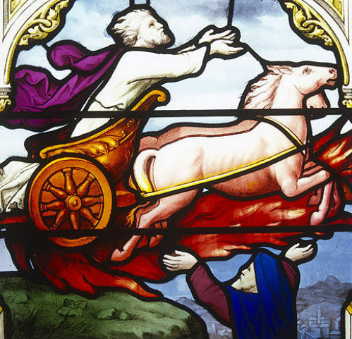 Elijah in chariot of fire, nineteenth century, Church of St Aignan, Chartres, France