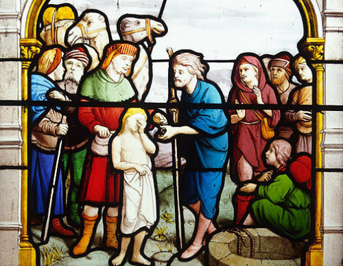 Joseph and his brothers at the well, nineteenth century window by Lorin, Church of  St Aignan, Chartres, France