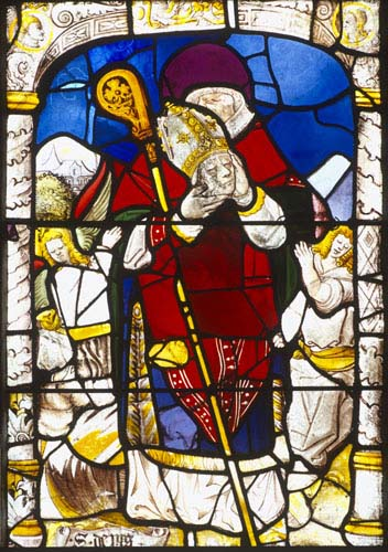 St Denis, Bishop of Paris, Bishops window, 16th century stained glass, Church of St Aignan, Chartres, France