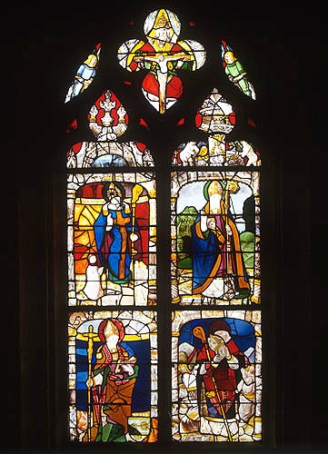 Saints Nicholas, Martin, Denis and Anianus, clockwise from top left, sixteenth century, Church of St Aignan, Chartres, France