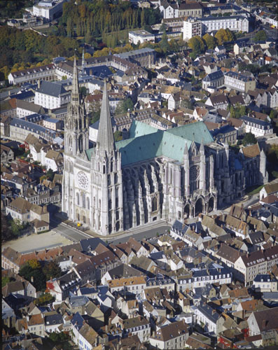 Chartres Cathedral, aerial view from the south west, Chartres, France