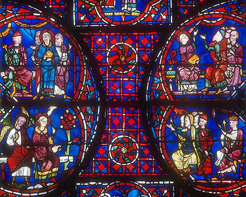 Details of the life of St Stephen, window number 41, panels 4-7, thirteenth century, in the north east ambulatory, Chartres Cathedral, Chartres, France