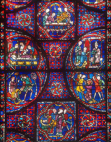 Details of the life of St Stephen, window number 41, thirteenth century, panels 8-13, stoning of Stephen and  opening of his tomb, Chartres Cathedral, Chartres, France