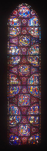 St Stephen window,  number 41, thirteenth century, north east ambulatory, Chartres Cathedral, Chartres, France