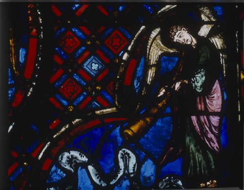 Angel sounding the last trump,  Last Judgement window, 13th century stained glass, Bourges Cathedral, France