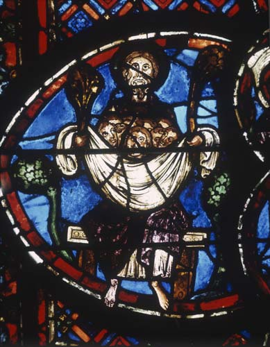 Souls of the saved, Last Judgement window, 13th century stained glass, Bourges Cathedral, France