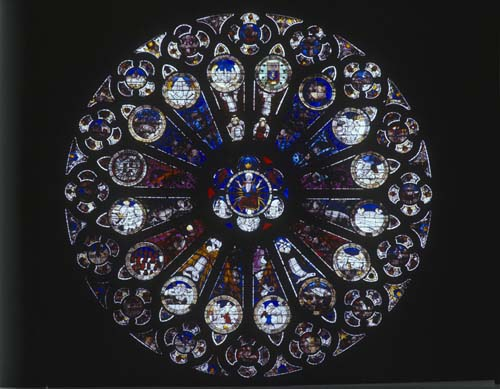 North Rose, 15th century stained glass, Angers Cathedral, France