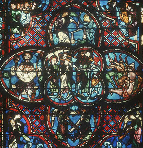 Weighing of Souls, and the Damned, Last Judgement window, thirteenth century, Bourges Cathedral, Bourges, France