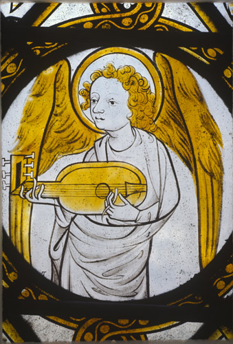 Angel playing viol, 15th century stained glass, Chapel of the Rosary, Evreux Cathedral, France