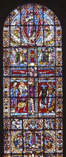 Crucifixion window, 13th century stained glass, Poiters Cathedral, France