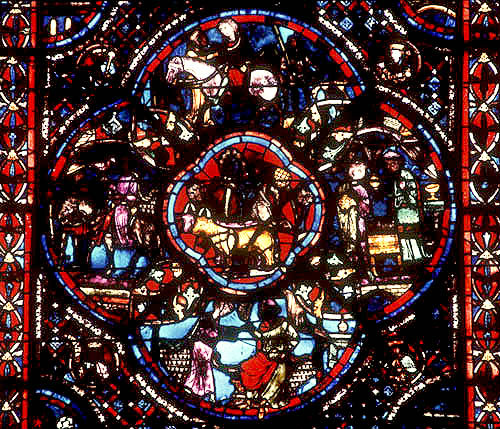Prodigal Son window, detail, Bourges Cathedral, France